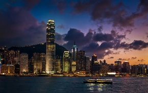 China, lights, cityscape, architecture, Hong Kong, landscape