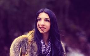 snow, fur coats, girl, model