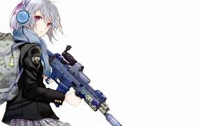 original characters, anime girls, gun, anime, headphones, Fuyuno Haruaki