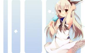 anime girls, blushing, blonde, long hair, ice cream, Kantai Collection