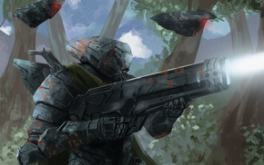 science fiction, futuristic armor, artwork, futuristic, shooting