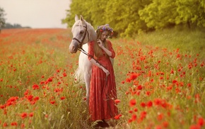 horse, flowers, animals, poppies, girl outdoors, nature