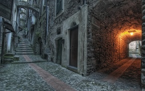 old building, stairs, urban, lights, door, street