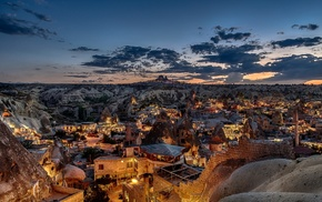 lights, mosques, Turkey, rock, stones, sunset