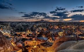 lights, mosques, Turkey, rock, stones, sunset