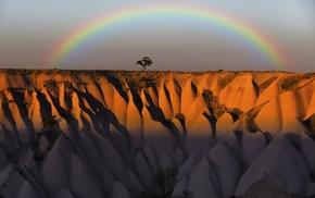 rainbows, horizon, Turkey, nature, landscape, trees