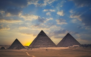 clouds, pyramid, nature, landscape, Pyramids of Giza, Egypt