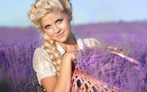 girl, portrait, blonde, lavender, face