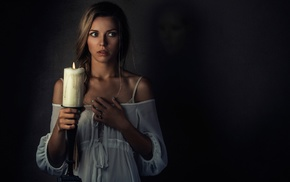 ghost, girl, spooky, candles