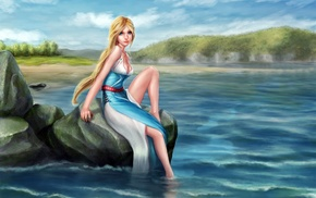 fantasy art, blue eyes, long hair, artwork, blonde