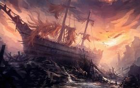 artwork, fantasy art, ship