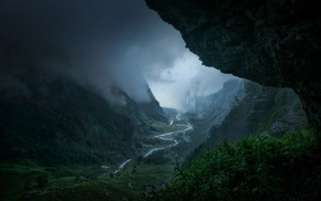 landscape, storm, mountain, valley, France, forest