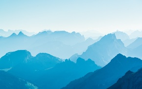mountain, valley, landscape, nature, blue, clear sky