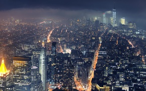 skyscraper, cityscape, New York City, lights, city, night