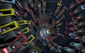 Portal 2, Portal, elevator, digital art