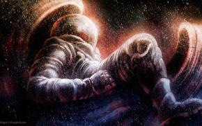 artwork, stars, universe, space, digital art, astronaut