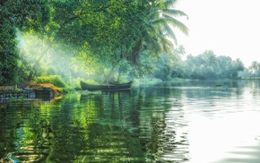 tropical, sun rays, boat, lake, landscape, nature