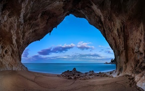 blue, rock, clouds, cave, coast, beach