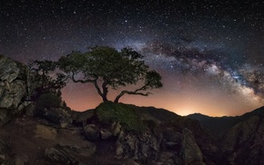 mountain, Milky Way, rock, nature, starry night, lights