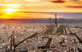 Eiffel Tower, city, France, sunset, cityscape, Paris