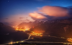 lights, Switzerland, night, clouds, city, cityscape