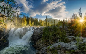 rock, river, sky, waterfall, forest, clouds