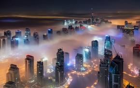 Dubai, night, urban, modern, landscape, mist