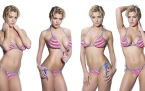 bikini, model, girl, Gemma Atkinson, dyed hair, simple background