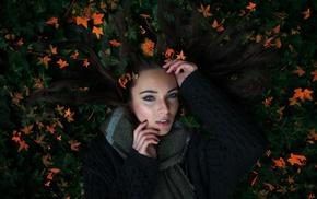 lying down, long hair, girl, leaves, nature, scarf