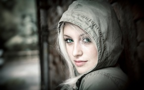 girl, face, hoods, blonde, looking at viewer, green eyes