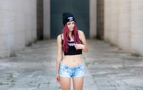 smiling, tank top, girl, short tops, jean shorts, flat belly
