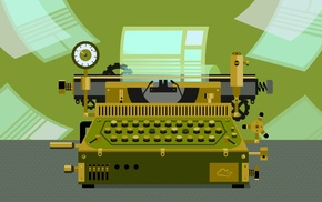 digital art, typewriters, paper, digitalocean