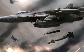 military aircraft, FA, 18 Hornet, dogfight, artwork, digital art