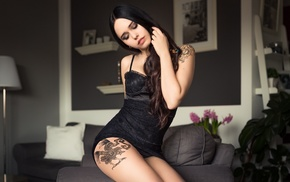 closed eyes, hands in hair, smoky eyes, lingerie, girl, tattoo
