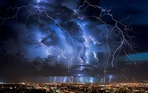 storm, lightning, city, night, nature