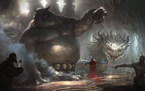 fantasy art, wizard, trolls, snake, giant