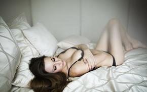 girl, long hair, bra, lingerie, closed eyes, black lingerie