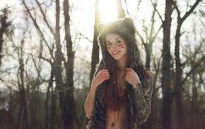 Fennek Suicide, tattoo, nature, dreadlocks, girl outdoors, pierced nose