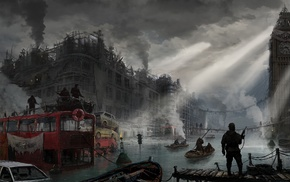 dystopian, artwork, apocalyptic, London