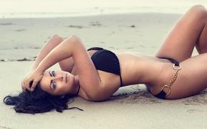 hands in hair, blue eyes, arched back, lying on back, girl, bikini