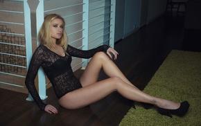 sitting, blonde, leotard, high heels, girl, bodysuit