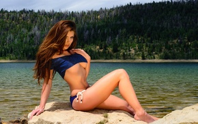river, flat belly, long hair, underboob, girl, bikini