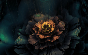 abstract, fractal flowers, digital art, flowers, dark, artwork
