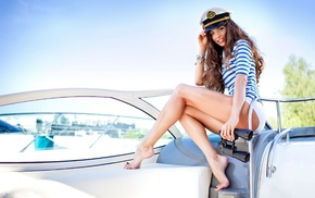 girl outdoors, boat, striped, Anna Moryachka Konchakovskaya, feet, T