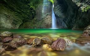 long exposure, waterfall, landscape, nature, moss, erosion