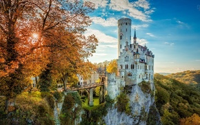 bridge, old building, HDR, Germany, cliff, nature