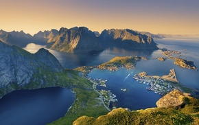 Norway, sunset, bay, mountain, landscape, town