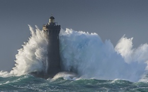 lighthouse, water, waves