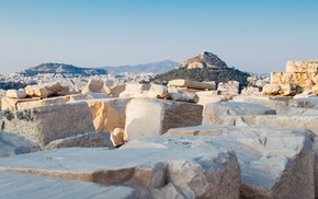cityscape, hill, Europe, Lycabettus, Athens, clear sky