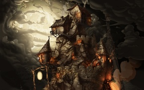 lantern, fantasy art, house, castle